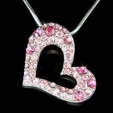 w Swarovski Crystal Rose ~Pink Heart Love Valentine Charm Pendant Chain Necklace