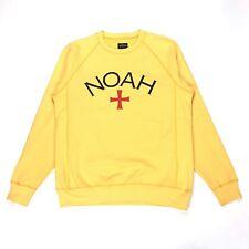 NWT Noah NY Men's Yellow Core Logo Crewneck Terry Sweatshirt M DS SS17 AUTHENTIC