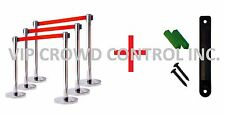"Retractable Belt Stanchion, 6 Posts, 36"" Mirror Ss + 7Ft Red Belt, Wall Bracket"