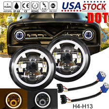 DOT 7 Inch LED Headlights Halo Yellow Turn Singal Hi/Low For Ford F100 1969-1979