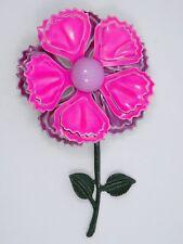 """VINTAGE 60's LARGE METAL ENAMEL DAHLIA FLOWER BROOCH PIN ~ 3.5"""""""