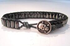 Biker Men's Military OD Green Leather & Black Magnetic Bracelet w/ Skull Button