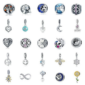 VOROCO Various 925 Sterling Silver Charms Colorful Enamel Charm And Zircon Charm