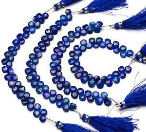 7 Inches Strand,Natural Lapis Lazuli Faceted Heart Shape Briolettes,Size 8mm