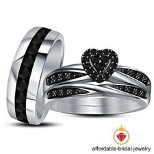 Diamond Wedding Trio His and Her Bridal Band Engagement Ring Set 14K White Gold