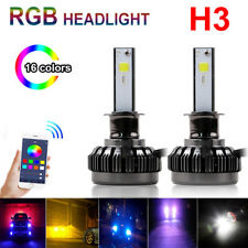 H3 Car Auto LED RGB Headlight Kit APP Bluetooth Control Driving Fog Bulbs Lamp