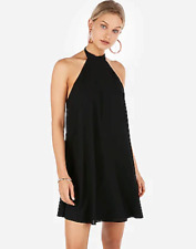 (NWOT EXPRESS BLACK HALTER NECK BACKLESS TRAPEZE DRESS sz M)