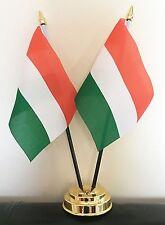 HUNGARY X2 TABLE FLAG SET 2 flags plus GOLDEN BASE HUNGARIAN
