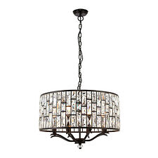 Endon Belle pendant 8x 40W Dark bronze effect plate & clear crystal