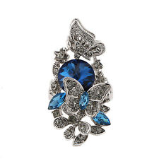 Women Fashion Blue Sapphire & Red Crystal Silver White Gold GF Cocktail Ring