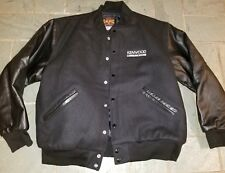 Varsity letterman leather sleeve Kenwood communications  Logo Jacket stereo