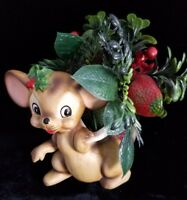 Christmas Josef Originals Mouse Boot Stocking Holiday Holder Planter Vintage