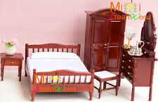 1:12 Dollhouse Miniature furniture Toy Bedroom Victorian Bed Wardrobe set 5pcs