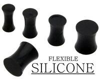 "Pair 8g 6g 4g 2g 0g 00g 1/2"" 9/16"" 5/8"" 3/4"" 7/8"" 1"" Silicone Solid Black Plugs"
