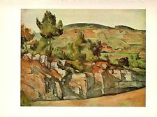 """1963 Vintage CEZANNE """"MOUNTAINS IN PROVENCE GORGEOUS COLOR offset Art Lithograph"""