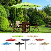9' Ft 8 Ribs Patio Wood Umbrella Wooden Pole Outdoor Sunshade Market Garden Yard