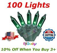 100 GREEN Christmas Wedding Lights String Indoor Outdoor Green Wire