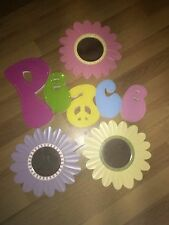GIRL ROOM BUNDLE PEACE SIGN FLOWER MIRRORS SHELVES WALL HOOKS CANDLES PICTURES