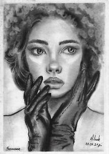original drawing 15 x 21 cm 202LN art samovar pastel female portrait Signed 2021