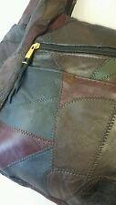 True Vintage Iconic Handmade Handbag Fine Leather Patchwork 70's Hobo Hippie