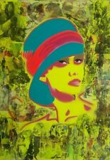 Signed 2011 Olatz Zanguitu - Olatz As Audrey Hepburn - Mixed Media Art Painting