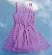 Cocolove Light Pink Size Small Pleated Chiffon Swing Dress Romantic Flowy