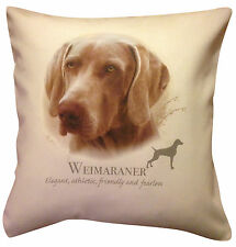 More details for weimaraner | quality cream or white 100% cotton cushion cover with zip gift item