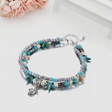 Damen Vintage Shell Seestern Perlen Fußkettchen Multi Layer Armband Schmuck