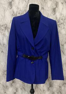 Tahari Size 12 Royal Blue Belted Blazer