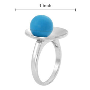 925 STERLING SILVER SIMULATED TURQUOISE 3D RING, L/6