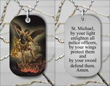 St MICHAEL PATRON SAINT OF LAW WITH PRAYER DOG TAG PENDANT FREE CHAIN -dvb6Z