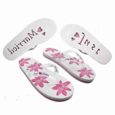 Pink & White Ladies Just Married Standard Flip Flops SIZE UK 3-5 (X44)