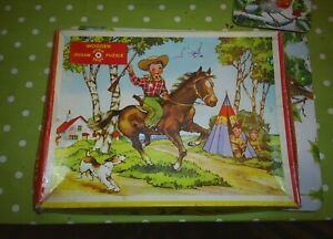 Vintage HIGH SPOT Wooden Jigsaw Puzzle Cowboy Children Horse Made in England