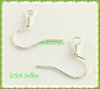 100pcs 18mm Silver Plated Iron Hook Coil French Fish Ear Wire Earrings FREE SHIP