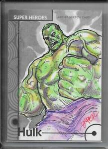 2013 MARVEL FLEER RETRO BASE ARTIST SKETCH CARD #17 HULK 1/1 BIENIFER FLORES