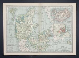 Original  Encyclopaedia Britannica Map Denmark and Iceland from 1903