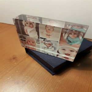 Personalised 13x9cm  3D Effect 6 Photos Crystal Glass Block