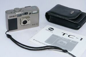 Minolta TC-1 Compact Point & Shoot 35mm Camera with Case and Instructions.