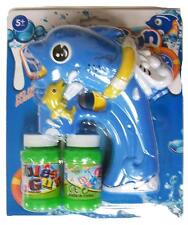LIGHT UP BLUE DOLPHIN FISH BUBBLE GUN W SOUND toy bottle bubbles maker machine