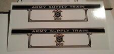 MARX 500 ARMY SUPPLY TENDER 2 PER SET BLACK & GOLD WATERSLIDE DECAL NICE LOOK!