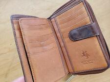 Large Brown Leather Vintage Mens Ladies Wallet Purse Zip Up VISCONTI