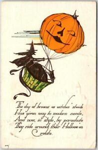 Vintage 1930 HALLOWEEN Postcard Witch / Jack O'Lantern Hot Air Balloon NASH H-40