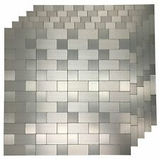 Art3d Stainless Steel Backsplash Peel and Stick Tile for Kitchen, 5-Piece