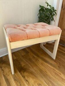 Vintage Retro Mid Century White Wooden Bedroom Dressing Table Stool Pink Velor