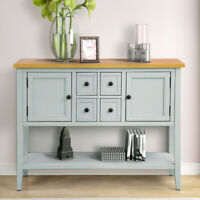 Entryway Wood Sideboard Buffet Accent Console Table w/Shelf 4 Drawers 2 Cabinet