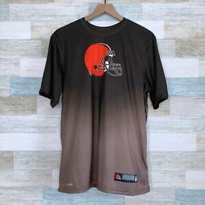 Nike NFL Cleveland Browns Dri Fit Tee Brown Orange Helmet Casual Mens Medium