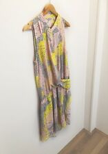 Country Road Pink Yellow Button Up Collarless Drop Waist Pocket Dress {Size 12}