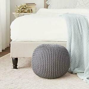 Urban Shop Round Knit Pouf - Hand Woven Cotton Grey