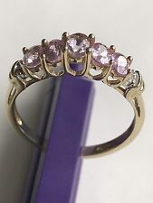 10k Solid Yellow Gold Pink Topaz & Tiny Diamonds Ring