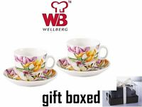 Wellberg WB-11202 4 Piece Floral Porcelain Tea Cup & Saucer Set In Gift Box